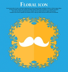 Retro moustache icon sign Floral flat design on a vector