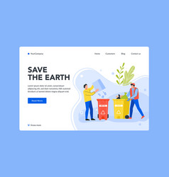 save earth throw away garbage landing page vector image