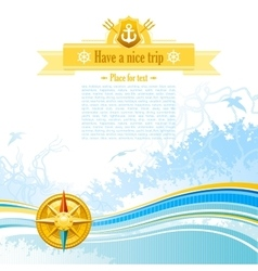 Sea travel background design in blue colors with vector