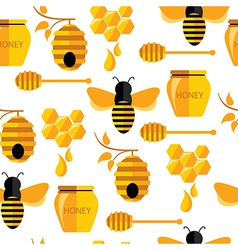 Seamless abstract pattern with bee and honey vector image