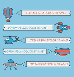 Set air vehicles with banners ufo rocket vector