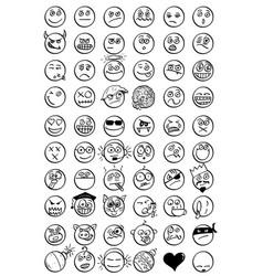 set cartoon hand drawn smiley faces vector image