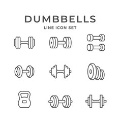 Set line icons of dumbbells vector