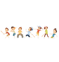 Set of children characters playing baseball vector