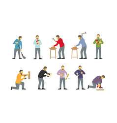 Set of men are different work-busy bearded vector