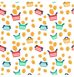 Shopping basket and coin flat icons vector