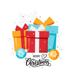 simple christmas card in flat style vector image