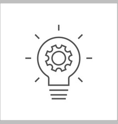 Simple light bulb conceptual icon with gear inside vector