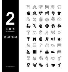 simple line icons volleyball vector image