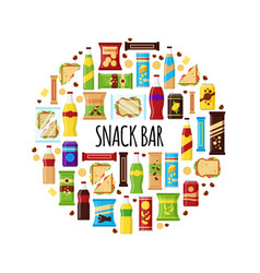 snack product in circle fast food snacks drinks vector image