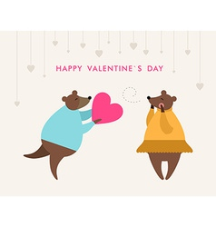 St Valentines day greeting card in flat style Bear vector