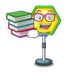 Student with book traffic sign isolated on the vector