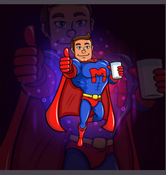 Superhero is with a glass of milk for esport logo vector