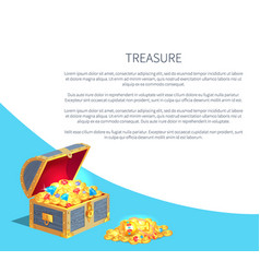 Treasure poster wooden chest full of ancient gold vector
