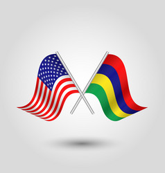 Two crossed american and mauritian flags on vector