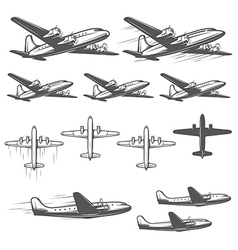 Vintage airplanes from different angles vector image