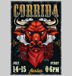 Vintage corrida colorful advertising poster vector