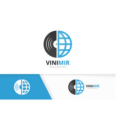 vinyl and planet logo combination record vector image