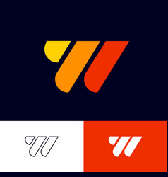 W monogram multi color geometric elements vector