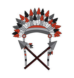 War bonnet spears feather native accessories vector
