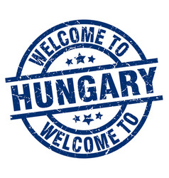 Welcome to hungary blue stamp vector