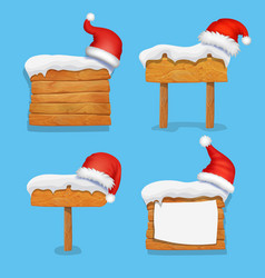 winter christmas wooden banners set vector image
