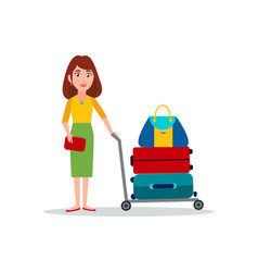 woman carry luggage on transportation cart vector image
