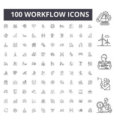 Workflow line icons signs set outline vector