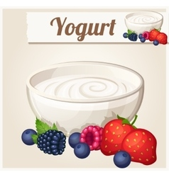 Yogurt with berries Detailed Icon vector