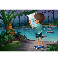 A boy with a map standing in the middle of the vector image