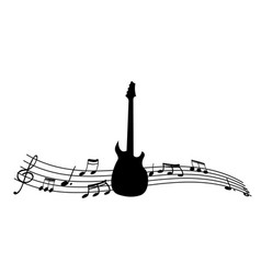black silhouette of the guitar and music notes vector image