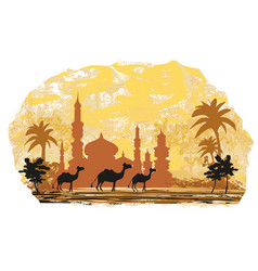 camel trip with mosque background vector image vector image