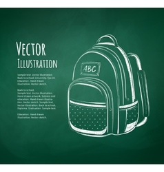 Chalkboard drawing of school bag vector image