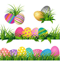 colorful eggs and spring green grass borders set vector image vector image