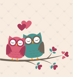 cute owls in love vector image