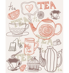 hand drawn tea and coffee vector image vector image