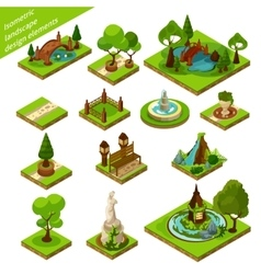 Isometric Landscape Design Elements vector image vector image