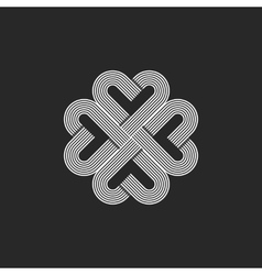 Sacred geometric heart pattern logo hipster vector image