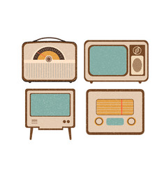 set of retro home electronics radio tv in vintage vector image vector image