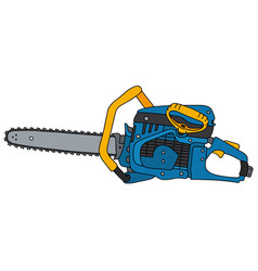 yellow and blue chainsaw vector image vector image