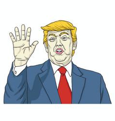 donald trump says talk to my hand cartoon vector image vector image