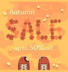flat autumn sale banner poster flyer vector image vector image