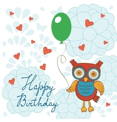 Happy birthday card with cute owl character vector image vector image