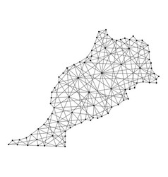 map of morocco from polygonal black lines and dots vector image vector image