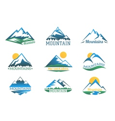 Mountains logo set Mountain peak landscape with vector image