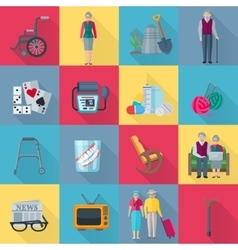 Pensioners icons set vector