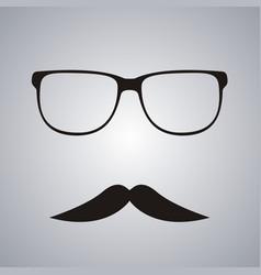 retro mustache and glasses symbol vector image vector image