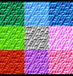 Set Seamless Geometric Volume Pattern Background vector image vector image