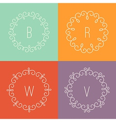 Abstract linear designs for logo templates vector image vector image
