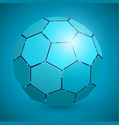 abstract soccer 3d ball blue vector image vector image